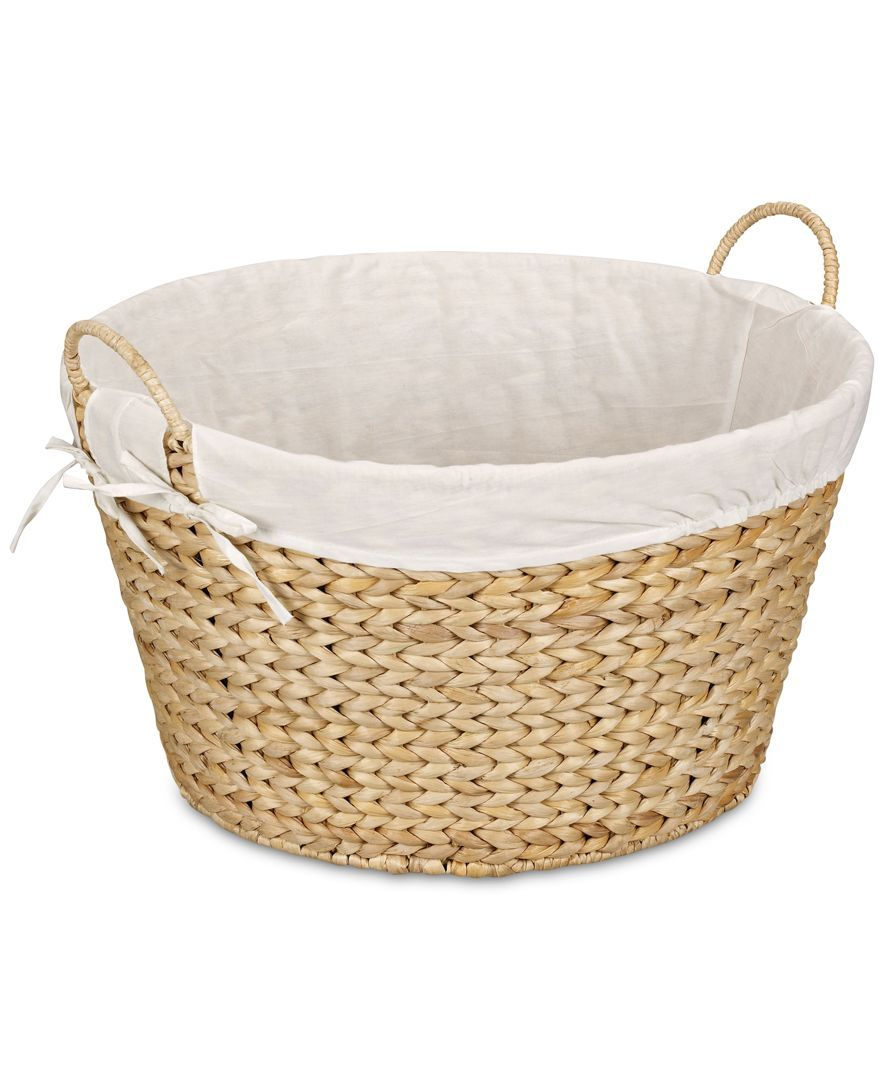 Banana Leaf Lined Laundry Basket Natural Woven Laundry Basket
