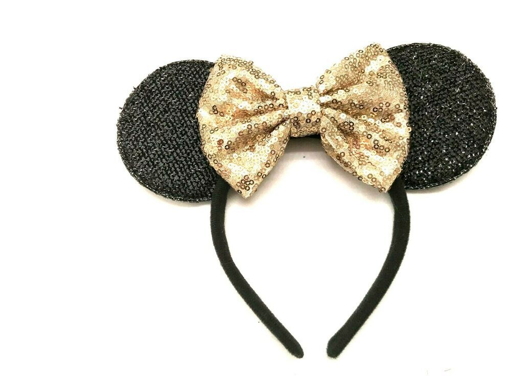 Minnie Mouse Ears Headband Shiny Black Sparkly Blue Bow Birthday Party Favors