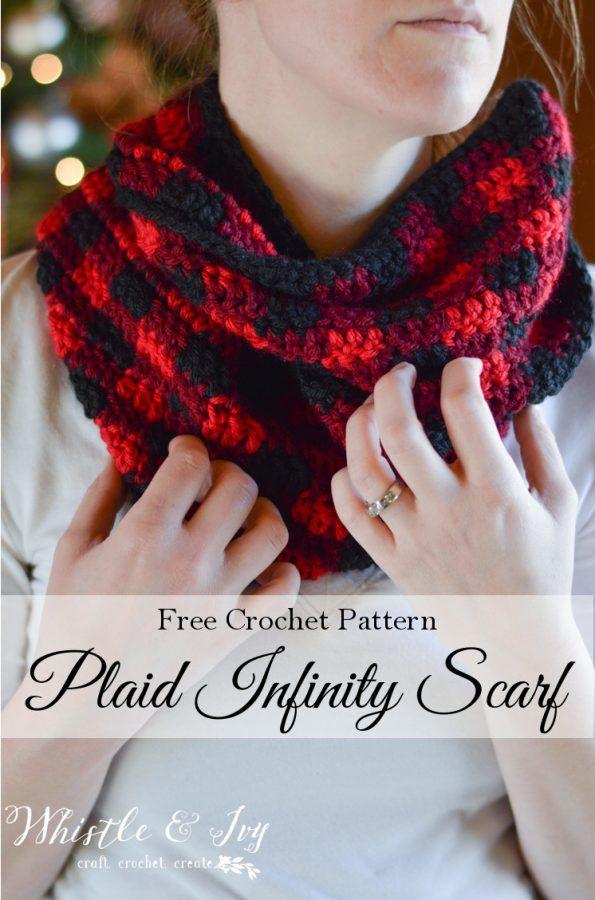 Crochet Plaid Infinity Scarf | Tejido, Ganchillo y Patrón de ganchillo