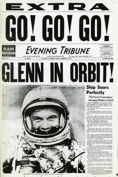 Historical Newspaper Front Pages John Glenn Old Page