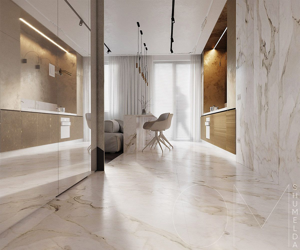 3 Luxe Home Interiors With White Marble Gold Accents Classic
