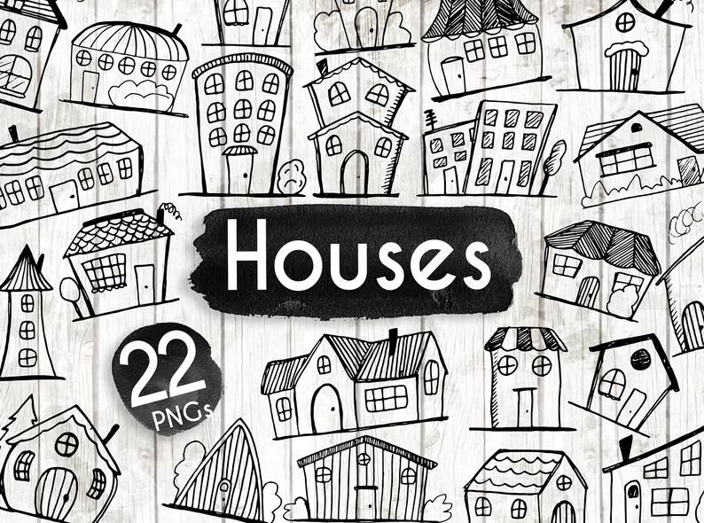 Doodle House Clipart House Vector Art Home House City Town House Png Home Vector Download House Illustrations 101 House Clipart How To Draw Hands House Vector