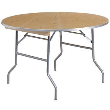48 Round Heavy Duty Birchwood Folding Banquet Table W Metal Edges Wood Folding Table Round Folding Table Folding Table