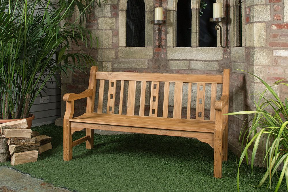 4ft Solid Teak Salisbury Garden Bench   FSC Teak Hardwood Bench With Free  Plaque Link: