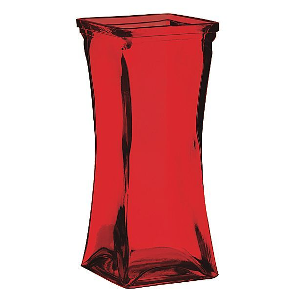 85 In X 35 In Red Square Top Flared Hour Glass Shape Vase