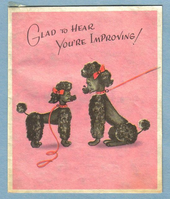 VINTAGE GET WELL CARD WITH POODLES