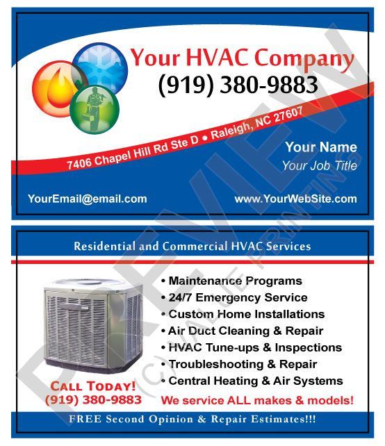 Thick 16 Pt Business Cards Come With Free Uv Gloss Swap Your Logo With The Illustration And Text Edits Matches Our Hvac Business Hvac Company Hvac Services