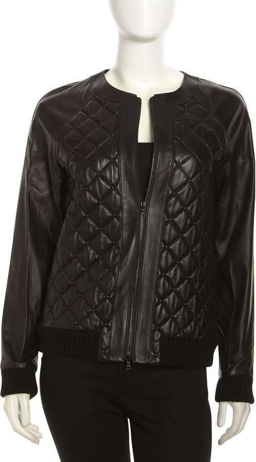 Quilted Leather Studded Bomber Jacket | Quilted leather, Black ... : neiman marcus quilted leather jacket - Adamdwight.com