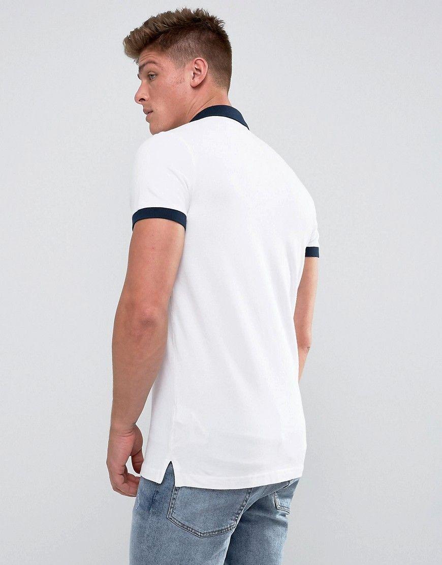 788e1ce2c Hollister Polo Shrunken Collar Pique Slim Fit in White - White ...