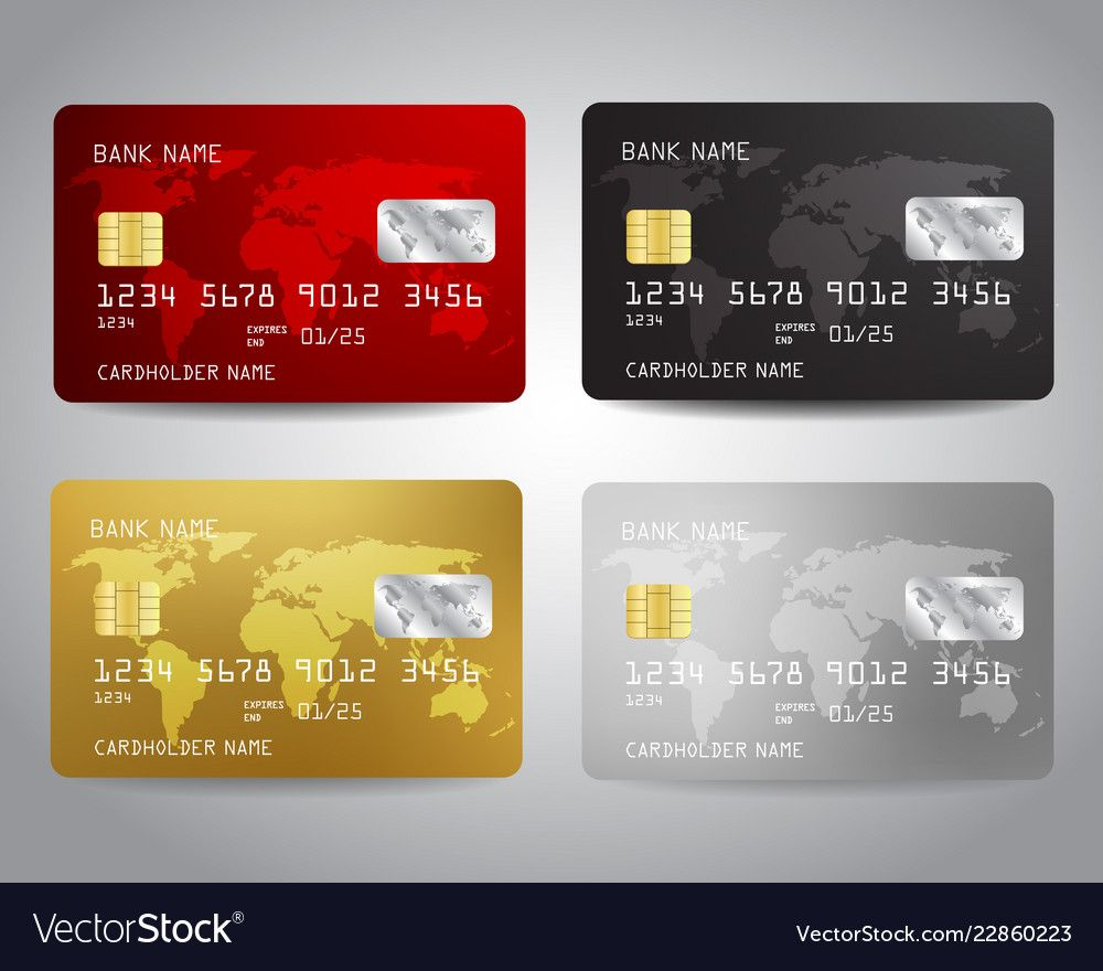 Realistic Detailed Credit Cards Set With Colorful Vector Image Ad Credit Cards Realist Credit Card Design Card Illustration Vector Illustration Design