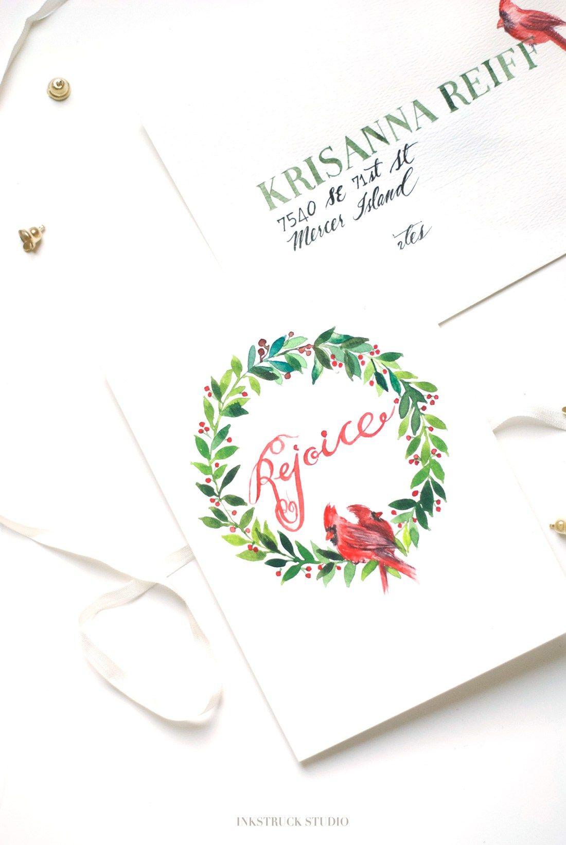 Diy Watercolor Christmas Wreath Card Christmas Christmas Wreath