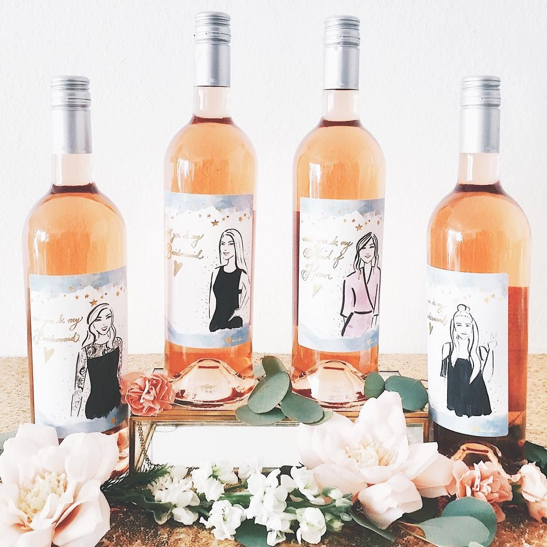 Custom Wine Labels For A Bridesmaids Proposal Is The