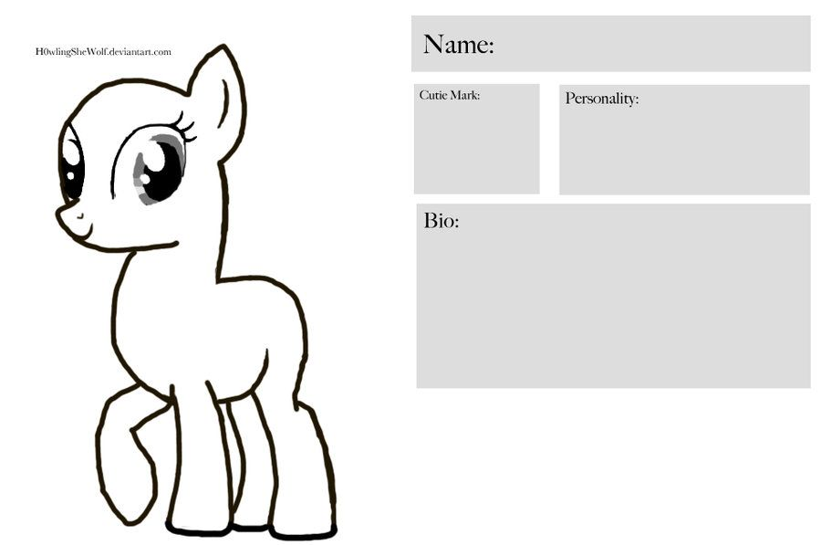 Free To Use My Little Pony Character Sheet Make Your Own Pony