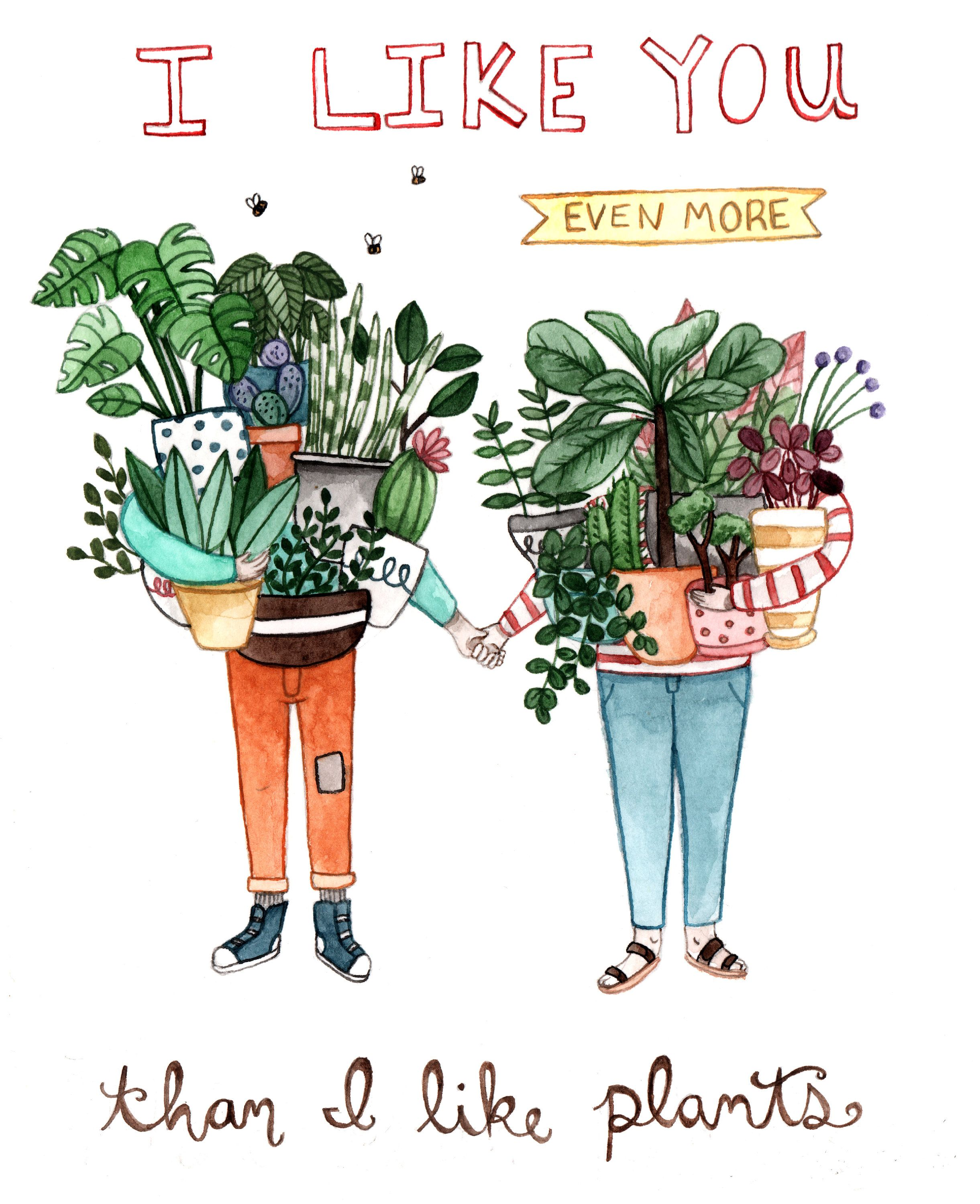 Like You More Than Plants Card Etsy In 2020 Plants Gardening Memes Plant Art