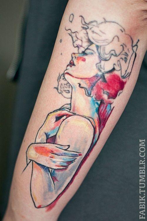 Woman Watercolor Tattoos Arm Tattoos For Man Inspired Tattoo Designs Tattoos Tattoo Designs Watercolor Tattoo
