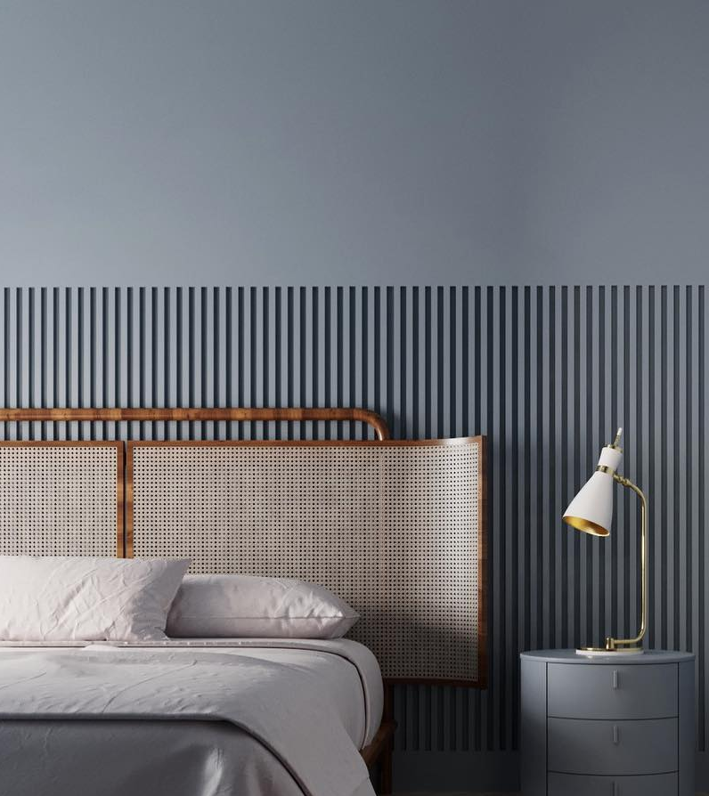 #Schlafzimmer #blaugrauer #Wand #Bett #Betthaupt Mit
