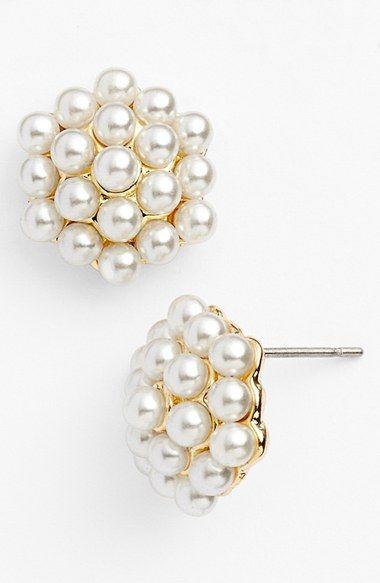 Anne Klein Faux Pearl Cluster Stud Earrings Earrings