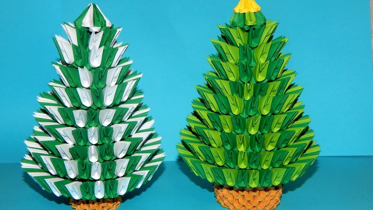 how to make 3d origami christmas tree 2016 part 2 - How To Make An Origami Christmas Tree