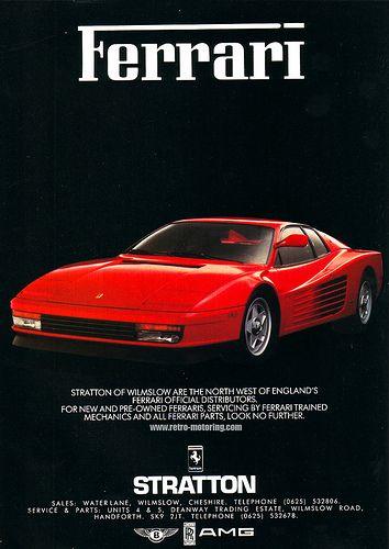 Ferrari Testarossa Advertisement Ferrari Ferrari Testarossa Ferrari Poster
