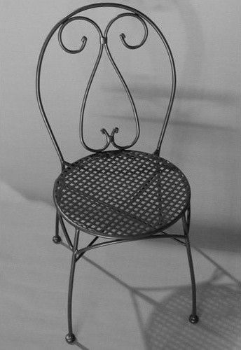 Alfresco Home Parisian Wrought Iron Bistro Chair With Cushion   Set Of 2  Contemporary Outdoor Chairs