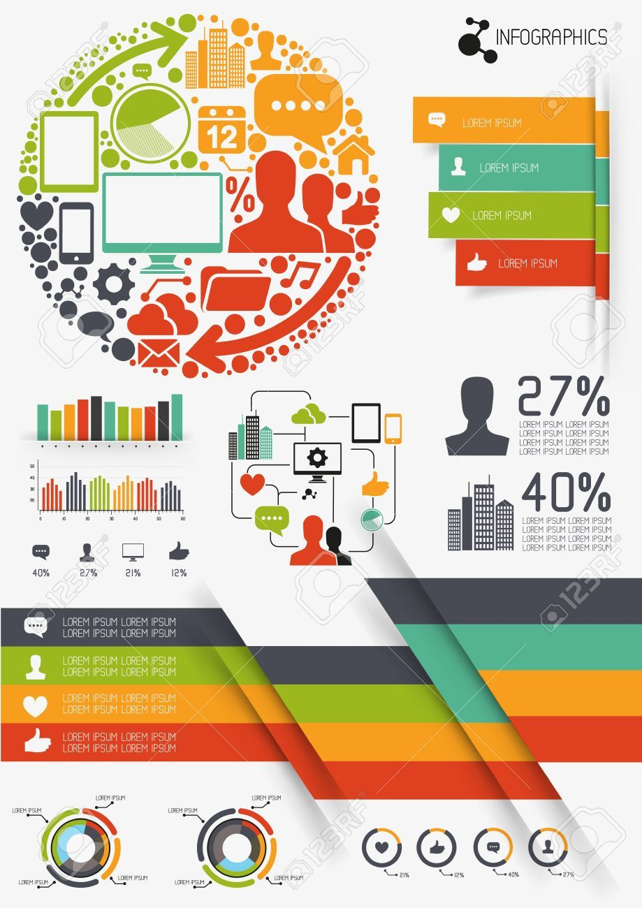 infographics vectors, charts and infomation elements   flat design