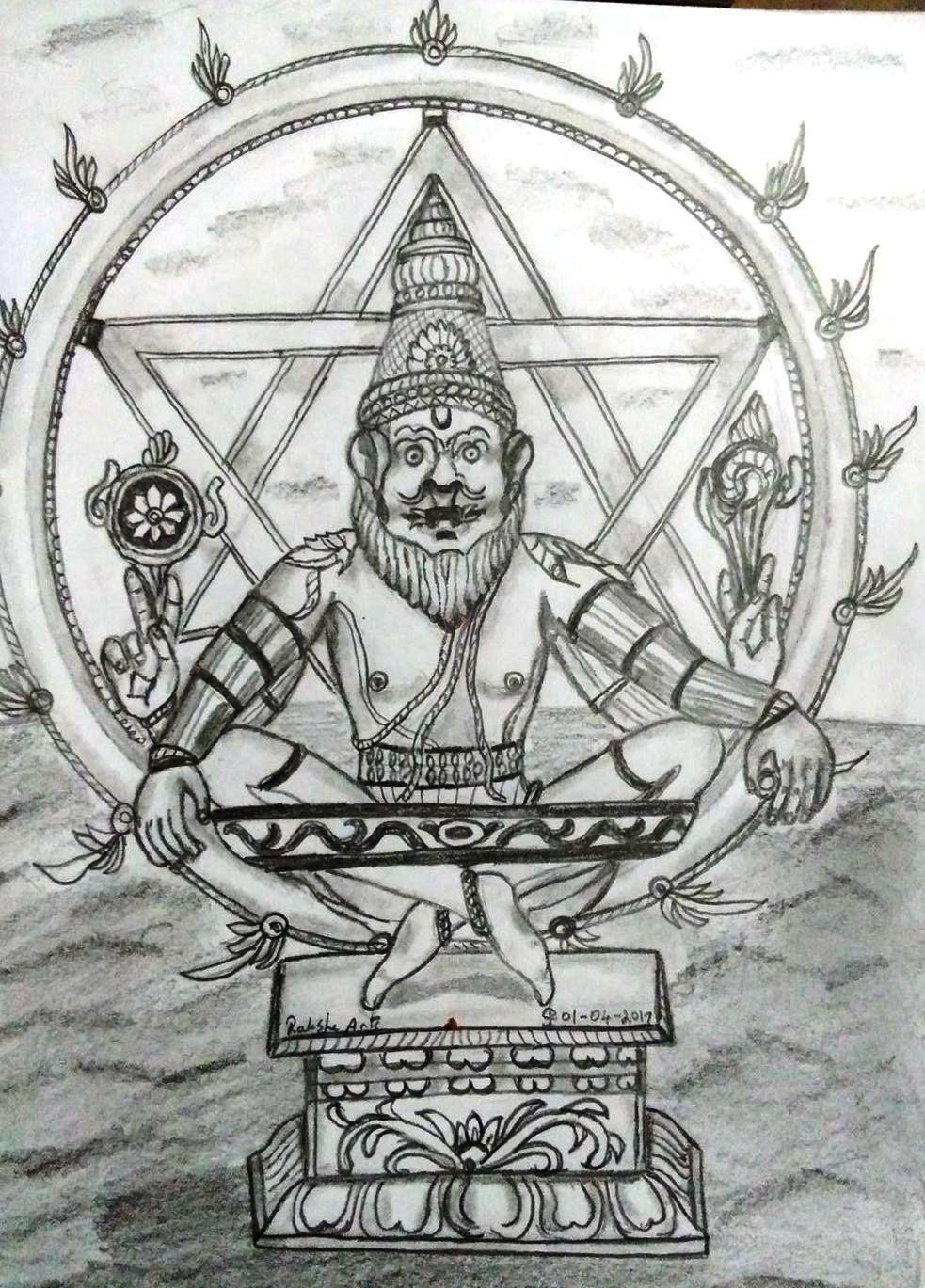 Pencil drawing sri yoga narasimhar
