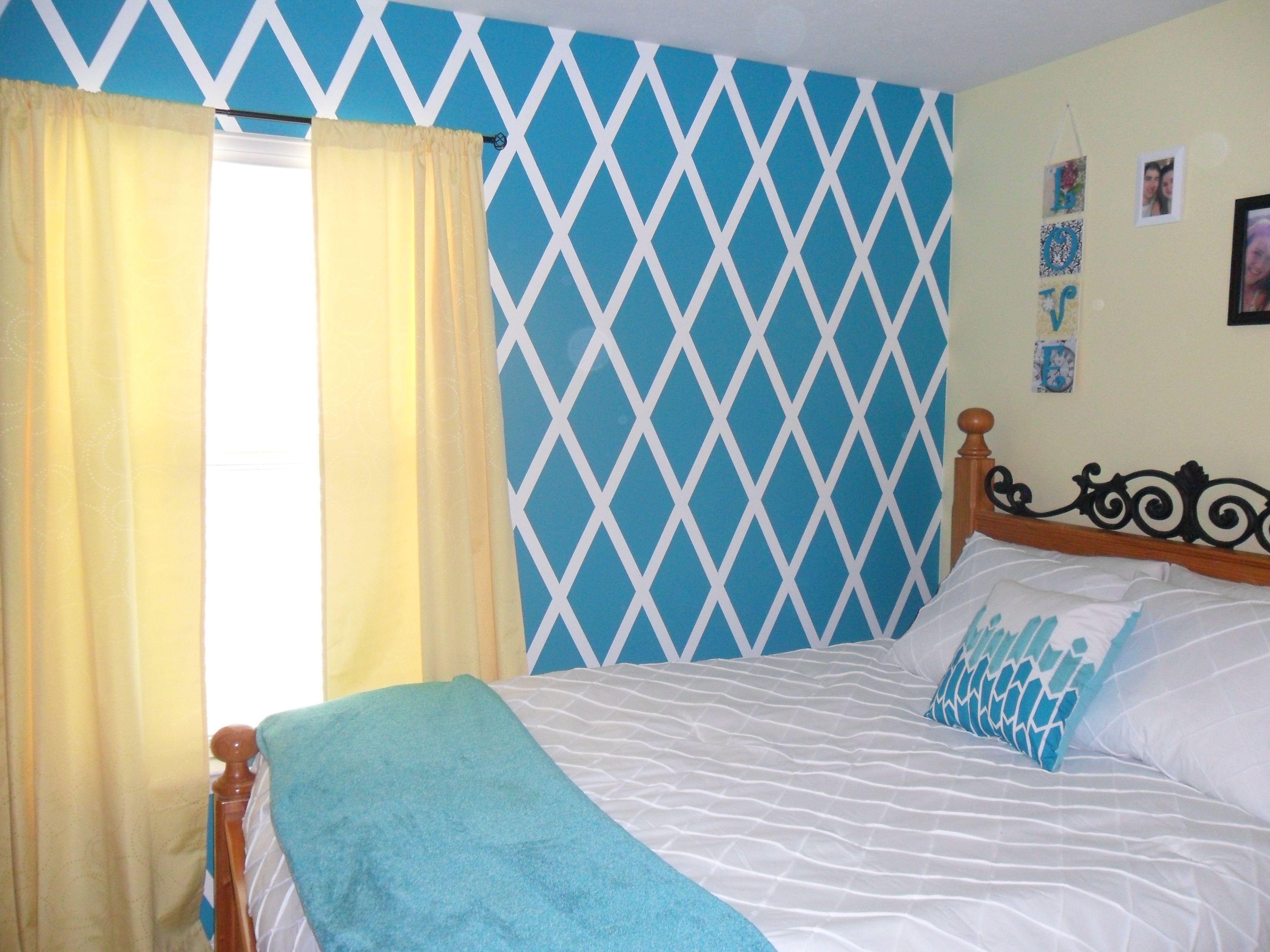 Diamond Design Painted Wall Bedroom Wall Designs Bedroom Diy