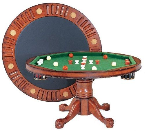 3 In 1 Game Table Round 54 Bumper Pool Poker Dining In Antique Walnut By Berner Billiards 975 00 Bumper Pool Table Bumper Pool Table Games
