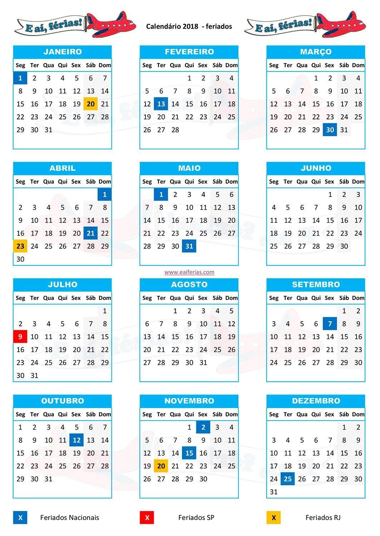 Feriados 2018 bora agendar essas f rias direito for Calendario ferias
