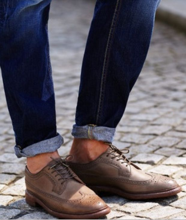 Rolled Up Jeans And Wing Tips Style Pinterest