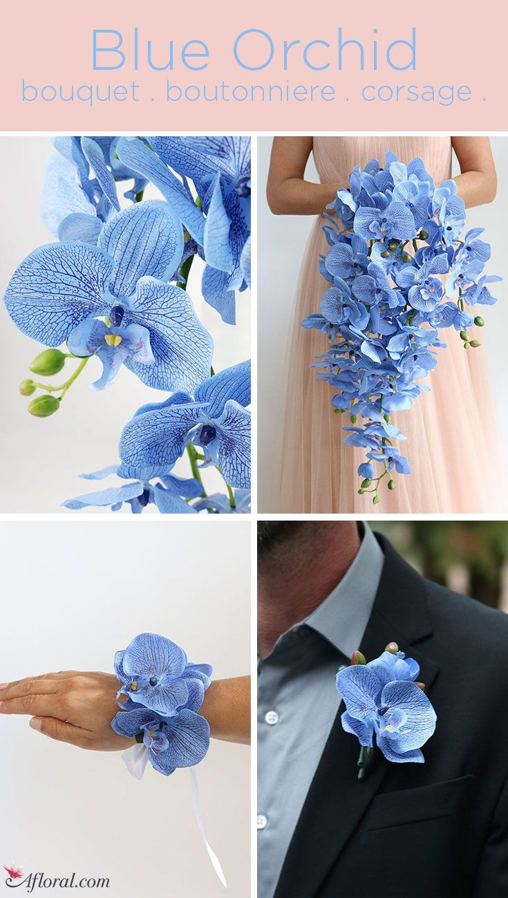 Beautiful Artificial Blue Orchid Bouquet Boutonniere And Corsages Blue Orchid Bouquet Blue Wedding Flowers Bouquet Blue Orchid Wedding