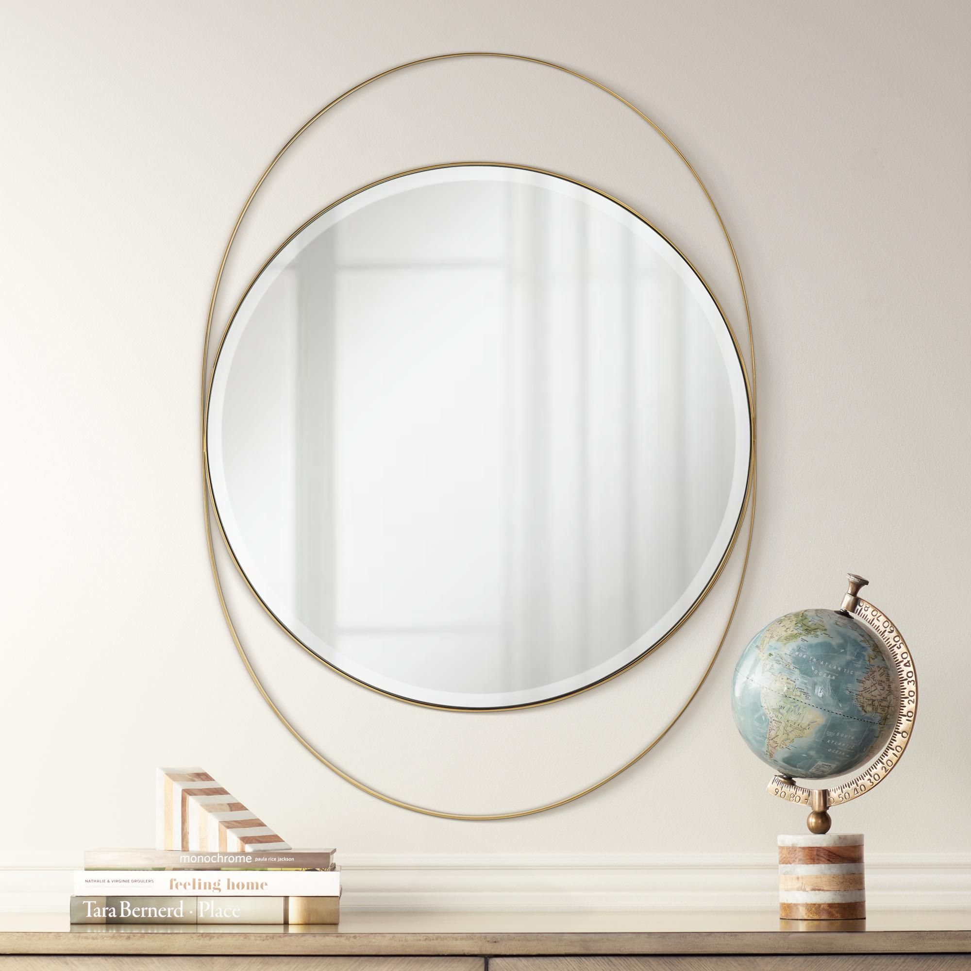 Possini Euro Ciara Gold 27 And One Half Inch X 39 Inch Oval Wall Mirror With Images Oval Wall Mirror Mirror Wall Mirror