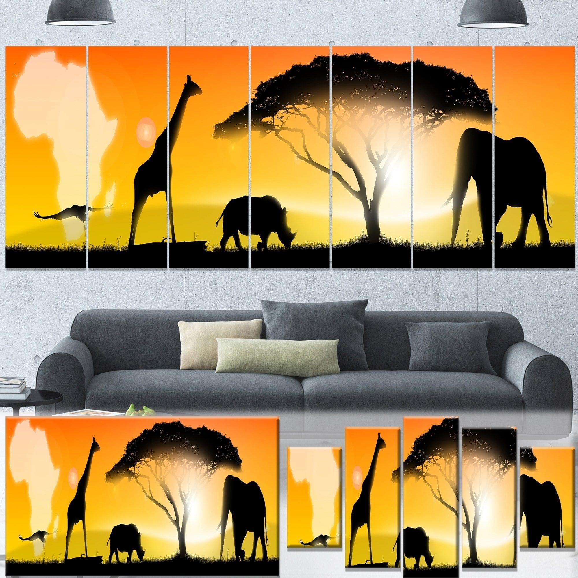 Designart \'African Wildlife Panorama\' African Wall Art Canvas Print ...