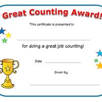 Good Counting Award  Sertifikate    Blank Certificate