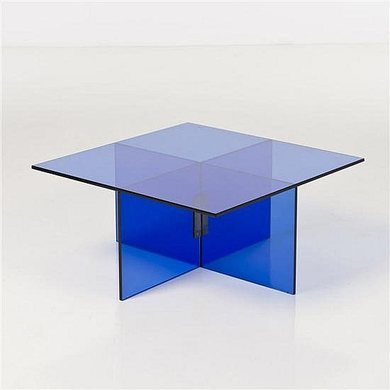 Max Ingrand blue glass coffee table in modern style - by Piasa #midcenturymodern