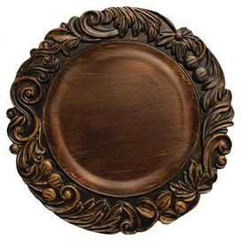 "Like I need any more chargers!  Charger plate with a scrollwork rim and distressed brown finish.  Product: Charger plateConstruction Material: MelamineColor: BrownFeatures: Chic aged brown finish and scrolling silhouetteDimensions: 14"" DiameterNote: For decorative use only"