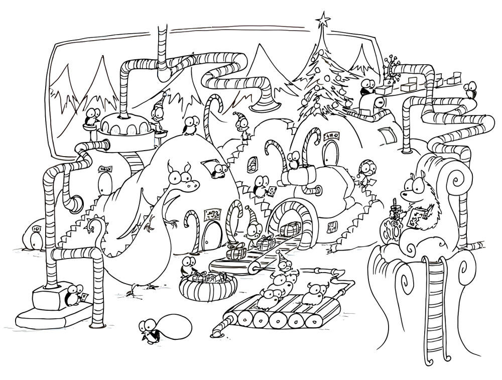 Image Detail For Free Coloring Page Of Christmas Penguins And Monkeys Working In A