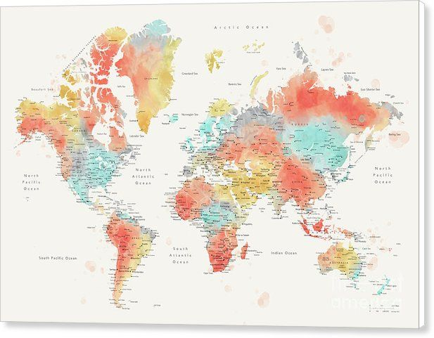 Fifi watercolor world map with cities canvas print canvas art fifi watercolor world map with cities canvas print canvas art by rosana laiz garcia gumiabroncs Choice Image