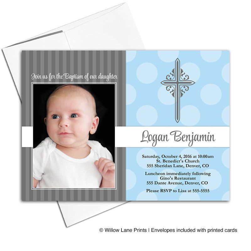 Baby Boy Christening Invite | Baptism Invitations, Blue and Gray ...