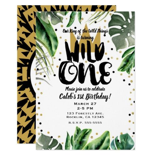 Wild One King of Things Crown 1st Birthday Party Invitation | Zazzle.com