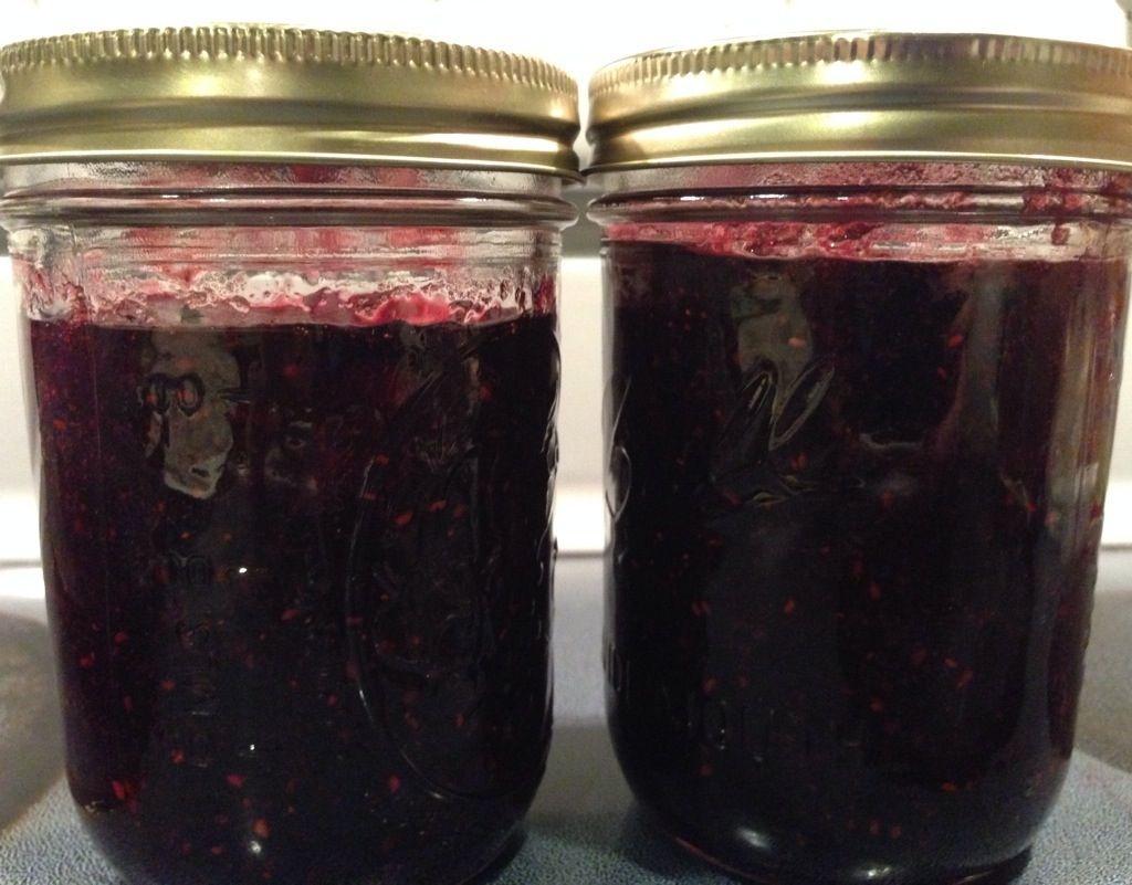 Homemade jam made with frozen berries triple berry jam