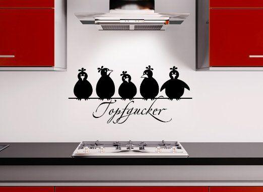 Grandora W862 Wandtattoo Spruch Topfgucker + 5 Vögel Küche schwarz ...