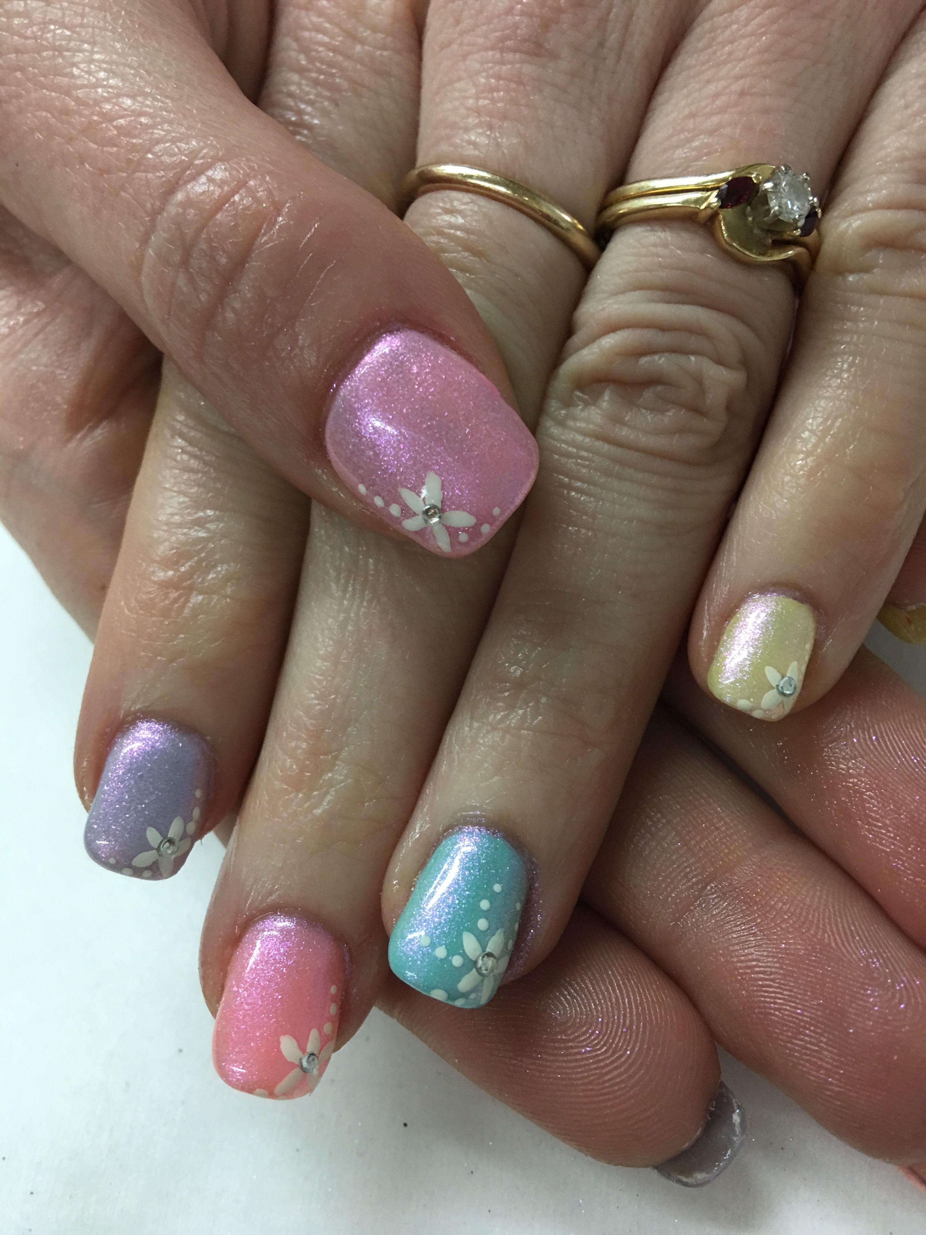 Spring Easter Multi Color Pastel Magpie Vera Hand Painted Flower Gel Nails Gel Nail Designs Nail Designs Spring Classy Nail Designs