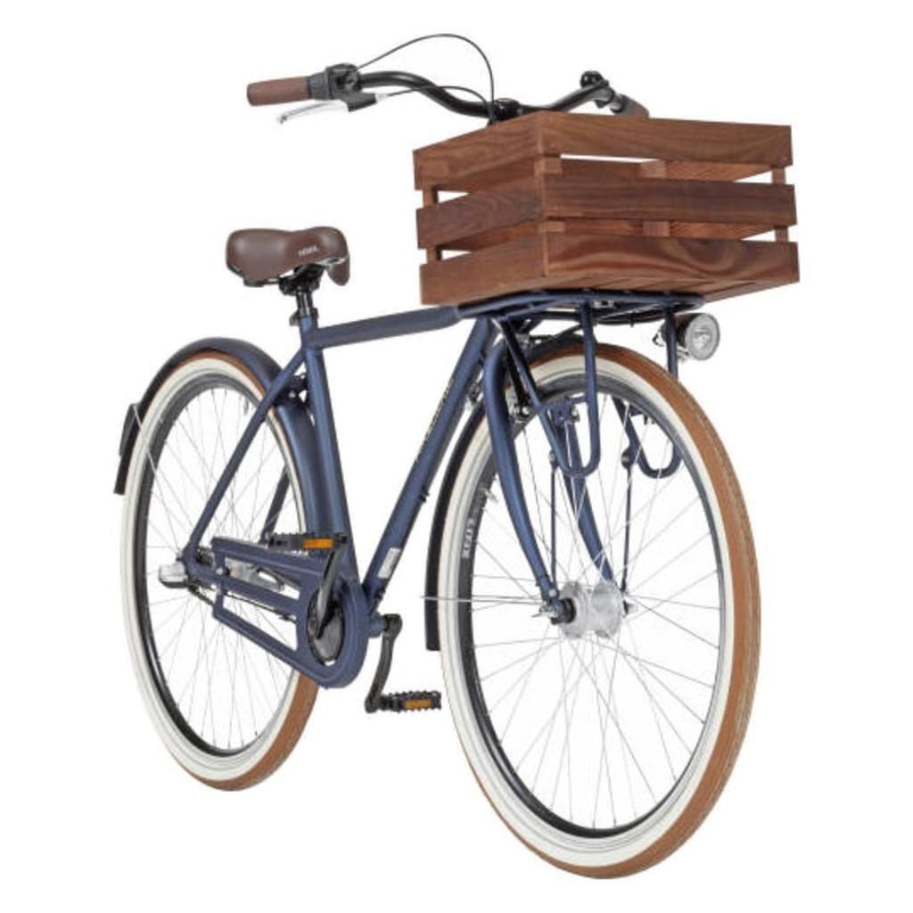 Das Alu-Tourenbike Ameland für Herren eignet sich perfekt für die Stadt oder einen entspannten Fahrrad-Ausflug. Es hat ein atlantikblaues, mattes Vintage-Design mit LED-Scheinwerfen in Retro-Optik. Die Scheinwerfer werden durch ein Shimano Nabendynamo betrieben. Durch