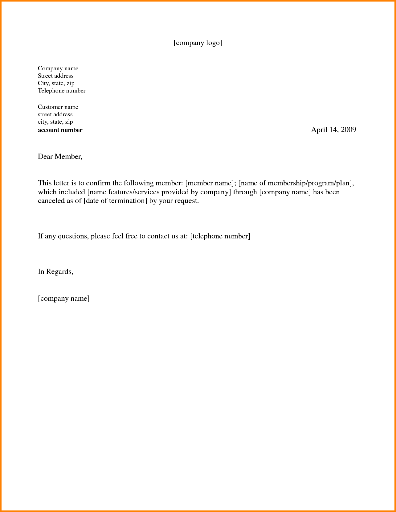 Letter Template Gym Cancellation Memo Templates Membership Free