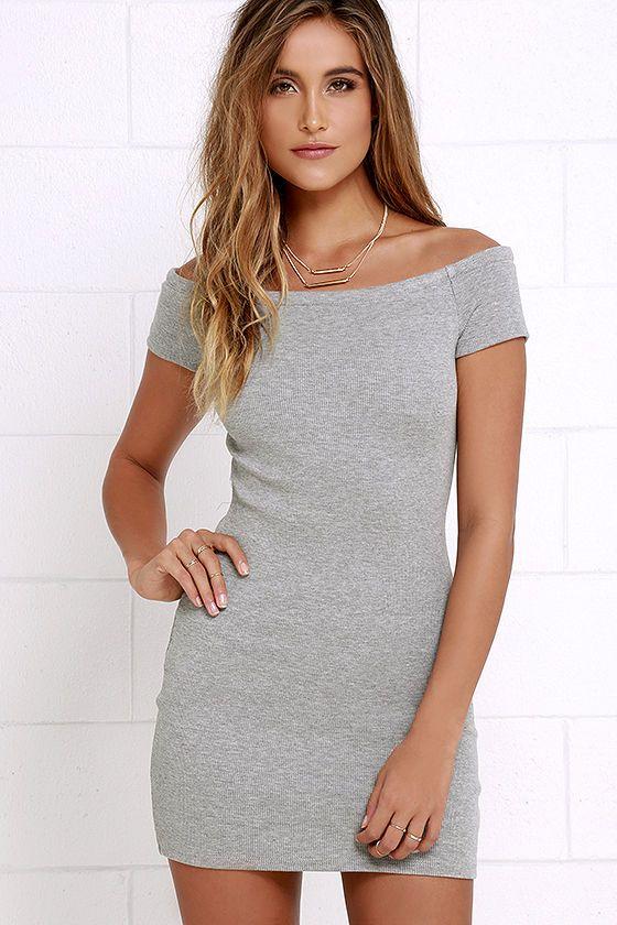 d561cf280047 Sing Me a Sonnet Grey Off-the-Shoulder Bodycon Dress at Lulus.com!