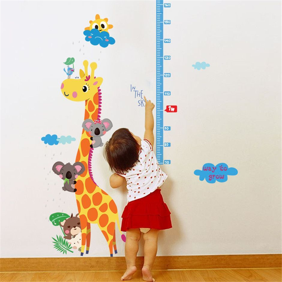 Eco removable giraffe height measure ruler wall sticker removable cartoon giraffe height measure wall sticker for kids rooms nursery home decor growth chart mural child height art decal geenschuldenfo Image collections