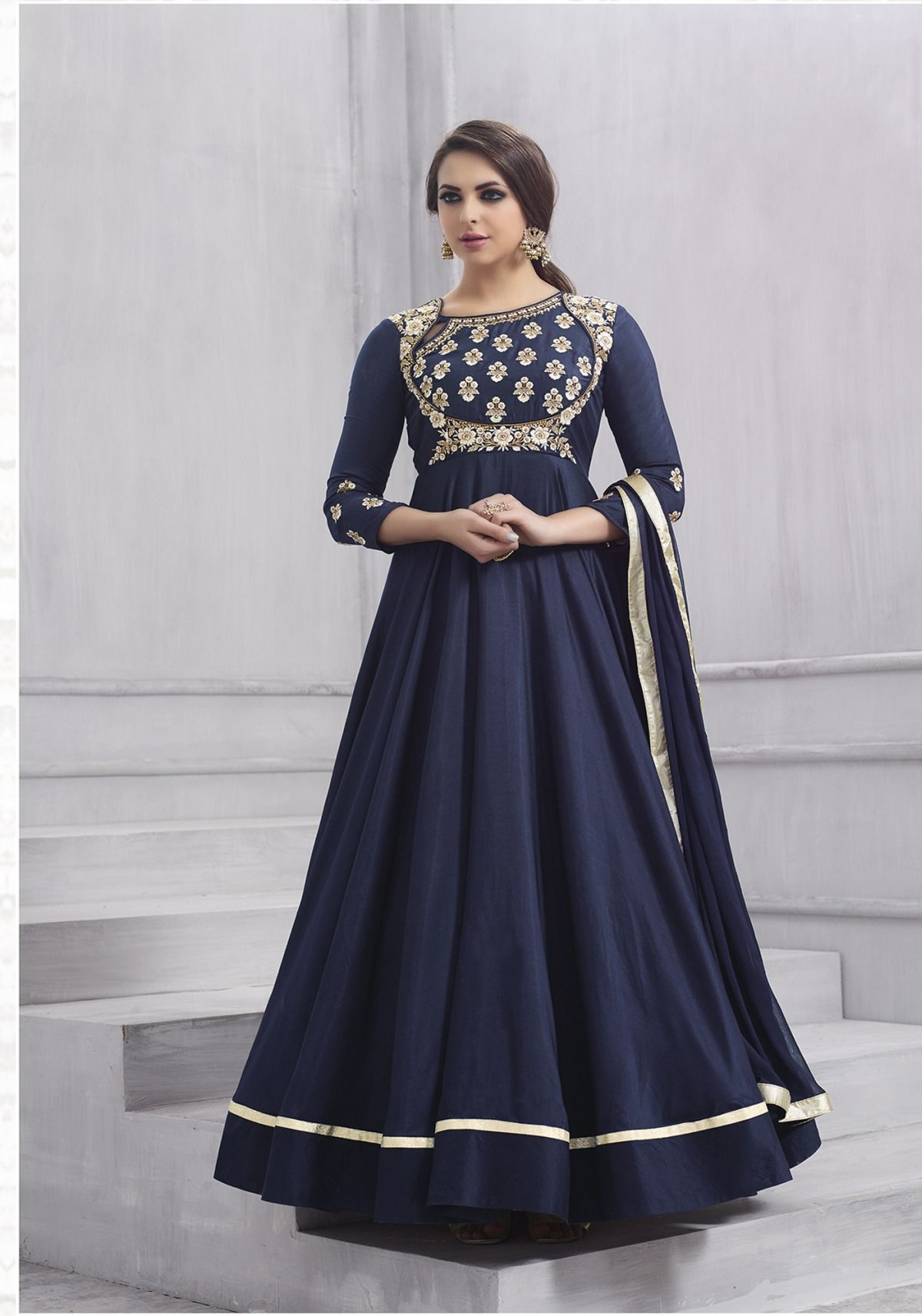 faebbf3d8e NAVY BLUE ART SILK ANARKALI SUIT SKU:418168 Product code: 418168 Color: Navy  Blue Fabric: Art Silk Work: Stone, Thread, Zari Embroidery