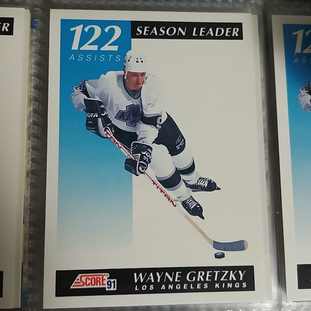 Wayne Gretzky Season Leader 122 Assists Score 91 Hockey Card 295 Losangeleskings Hockey Cards Wayne Gretzky Wayne