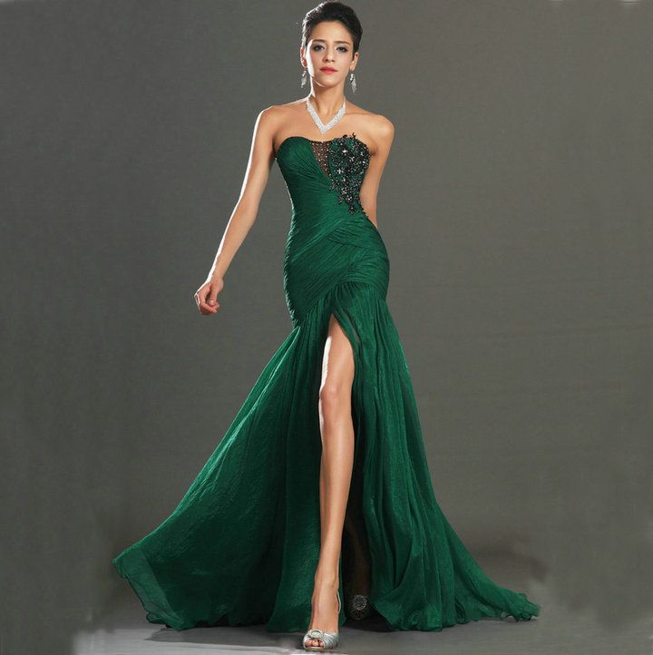 New Style 2014 Mermaid Prom Gown Black Embroidery Dark Green ...